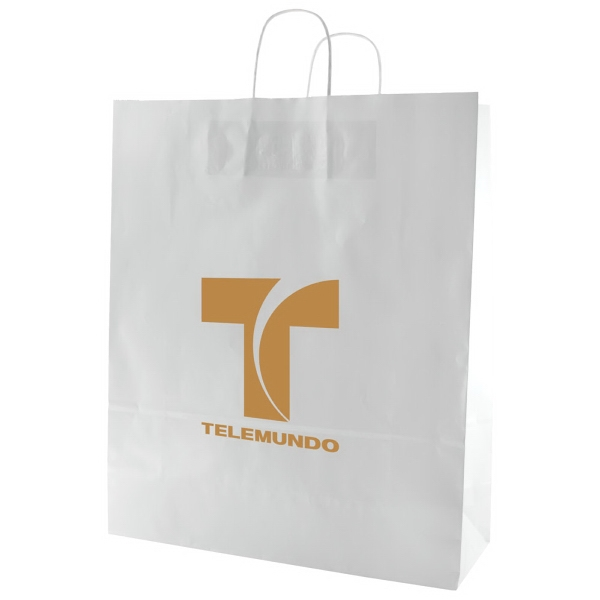 "Enviro Sacks (tm) - 16"" X 13"" - White Gloss Coated Shopping Bag With Handle Photo"
