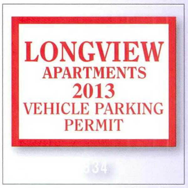 "3"" X 3"" Square-cut Clear Static Stick Parking Permit Photo"