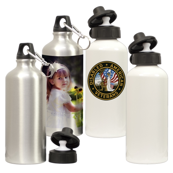 Silver - Define Your Brand With Photos Or Logos On This White Aluminum Water Bottle Photo