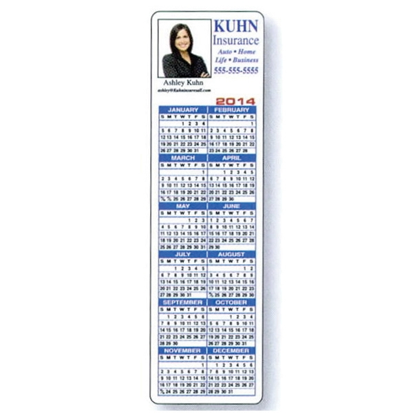 "Two Sides - 2"" X 7"" Overlaminated Tag Stock Bookmark In 4-color Process Print With Calendar Photo"