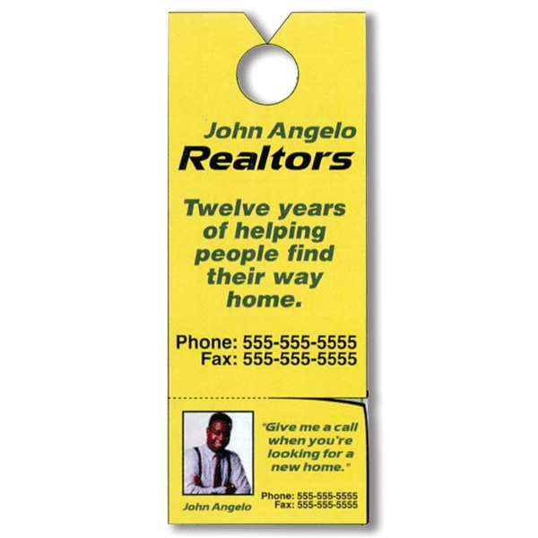 "One Side - 3 1/8"" X 8 1/8"" Tag Stock Door Knob Hanger; 4-color Process, Removable Magnet Card Photo"