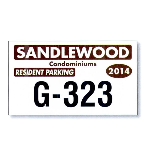 "4 3/4"" X 2 3/4"" White Vinyl Parking Permit Photo"