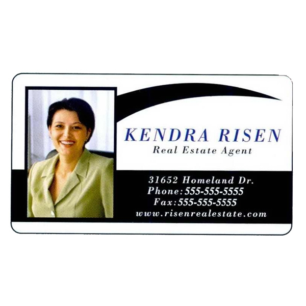 "Two Sides - Overlaminated Deluxe White .030"" Thick Specialty Business Card With Plastic Core Photo"