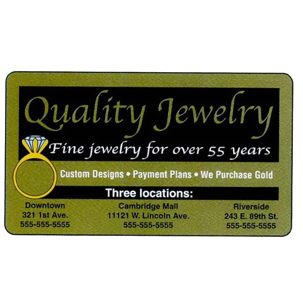 "One Side - Overlaminated Deluxe Gold .020"" Thick Specialty Business Card With Plastic Core Photo"