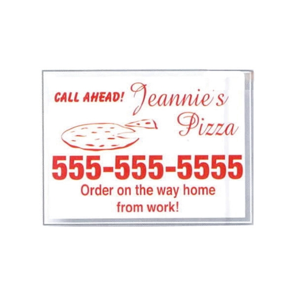 "Custom 2"" X 1 1/2"" Individual, Clear Static Stick Service Decal With Screen Print Photo"