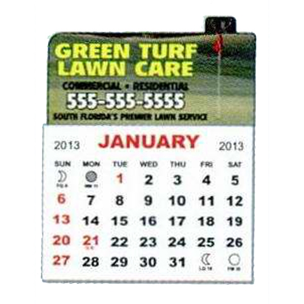 1-month, 12-page Magnetic Calendar Pad With 4-color Process Print Photo