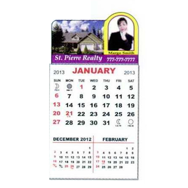 3-month, 12-page Magnetic Calendar Pad With 4-color Process Print Photo