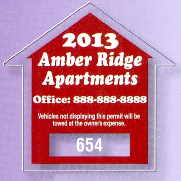 "2 3/4"" X 2 3/4"" House Clear Static Stick Die-cut Parking Permit Photo"