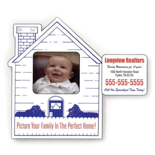 "3 1/4"" X 4"" House Picture Frame Magnet; 1 3/16"" X 1 3/8"" Removable Center Photo"