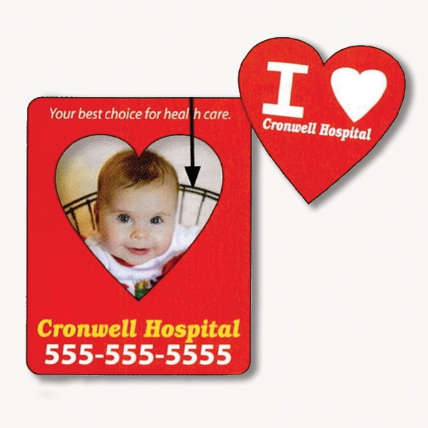 "3"" X 3 3/4"" Rectangle Picture Frame Magnet; 2"" X 2 3/4"" Removable Heart Center Photo"