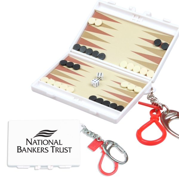 Travel Backgammon Game With Keychain Photo