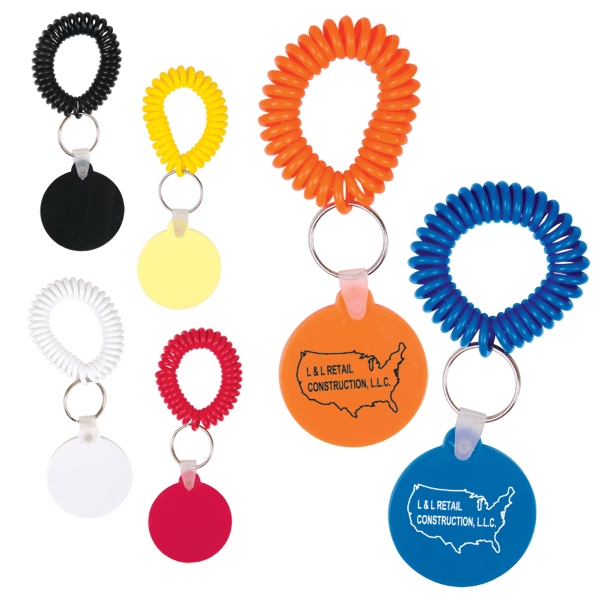 "Round Vinyl Key Chain With Coil Attachment, 1 7/8"" X 1 7/8"" X 1/8"" Photo"
