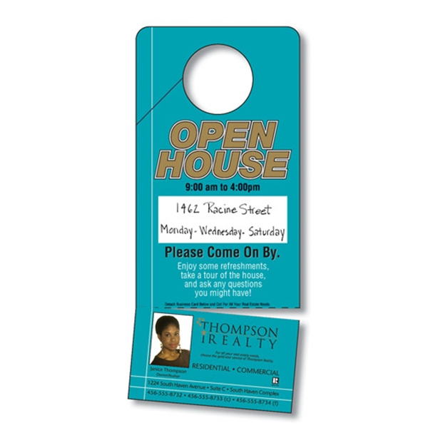 Door Hanger - 3.5 X 8 Uv-coated (1s) With Slit And Detachable Business Card - 10 Pt Photo