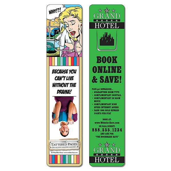 Plastic Bookmark - 1.75 X 8 Extra-thick Laminated With Page Holder - 24 Pt Photo