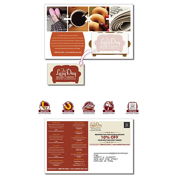Magna-peel (tm) - Delivery Postcard (8.5 X 5.25) With Business Card Magnet (3.5 X 2) Photo