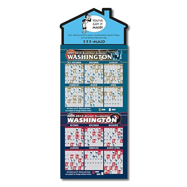 "Magna-card (tm) - Magnet - House Shape - Basketball/hockey Combo Schedules (3.5"" X 9"") Photo"
