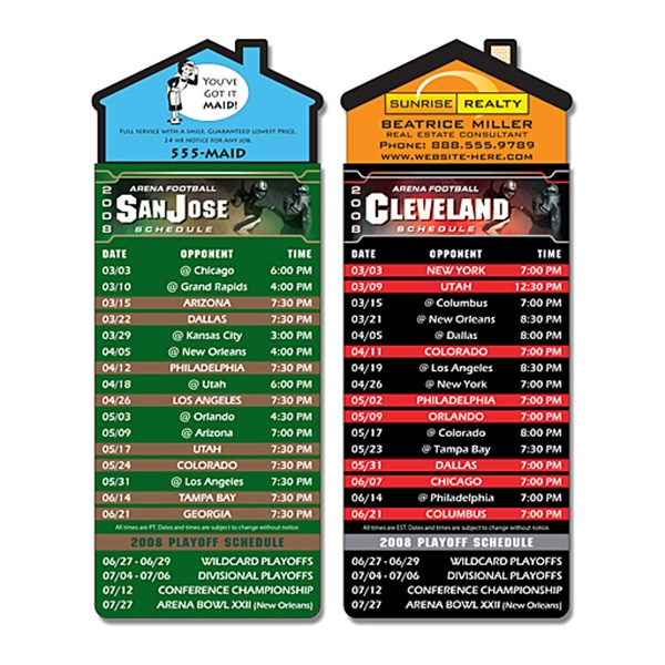"Magna-card (tm) - Magnet - House Shape - Arena Football Schedules (3.5"" X 9"") Photo"