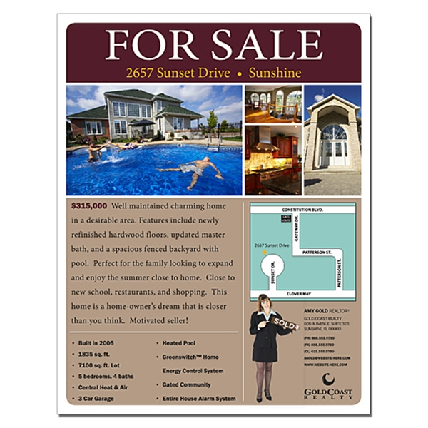 Real Estate Flyer - 8.5 X 11 - 4 Pt. Gloss Text Photo