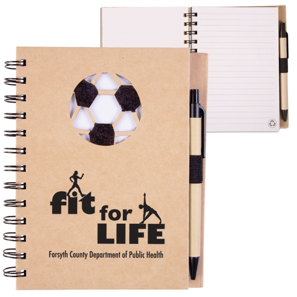 Ecoshapes (tm) - Recycled Hard Cover Notebook With Die Cut Soccer Ball Cover Design Photo