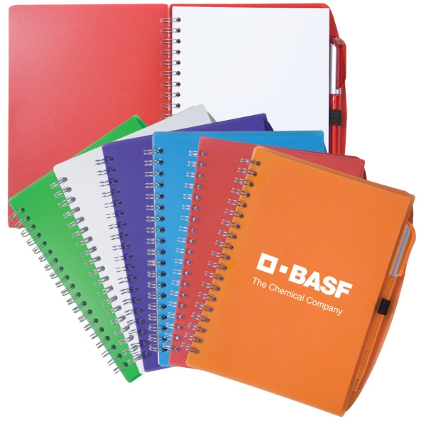 Spiral Notebook With Polypropylene Cover And Plastic Pen Photo