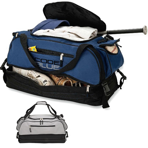 Zippered Duffel Bag With Zip Bottom Compartment With Luggage Straps Photo