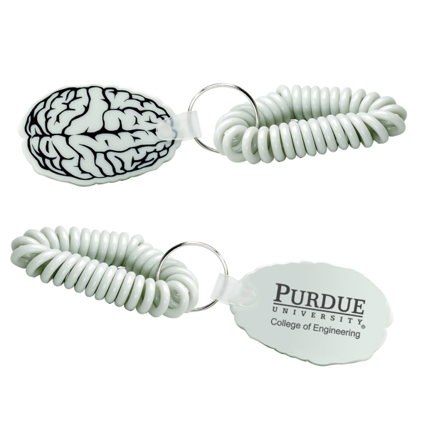 Vinyl Brain Shaped Keychain With Wristband Photo