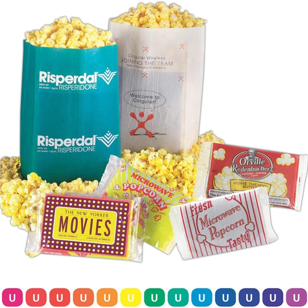 Microwave Popcorn With Semi-custom White Bag And Custom Imprint Photo