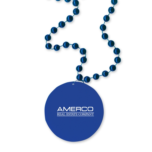"Royal Blue - Medallion Necklace, 33"" With 7 1/2mm Beads With Matching 2 1/2"" Medallion Photo"