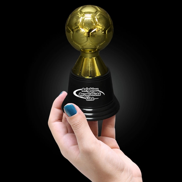"4 3/4"" Tall Gold Plastic Soccer Award Statue Photo"