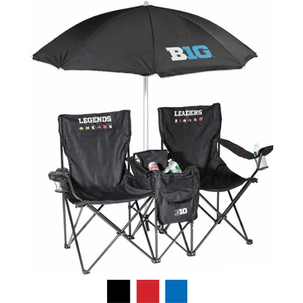 The Vacation Double Chair Combo - Double chair combo made of polyester with a 12-can cooler and 6' beach umbrella.