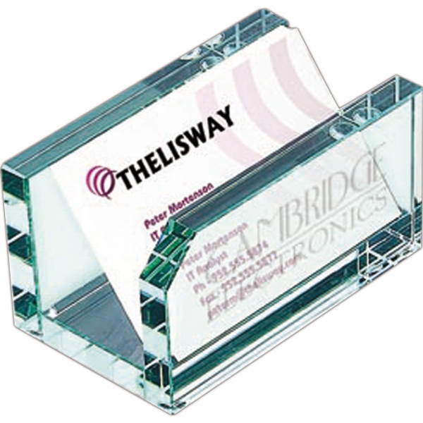 Officeworx;springfield - Jade Glass Business Card Holder Photo