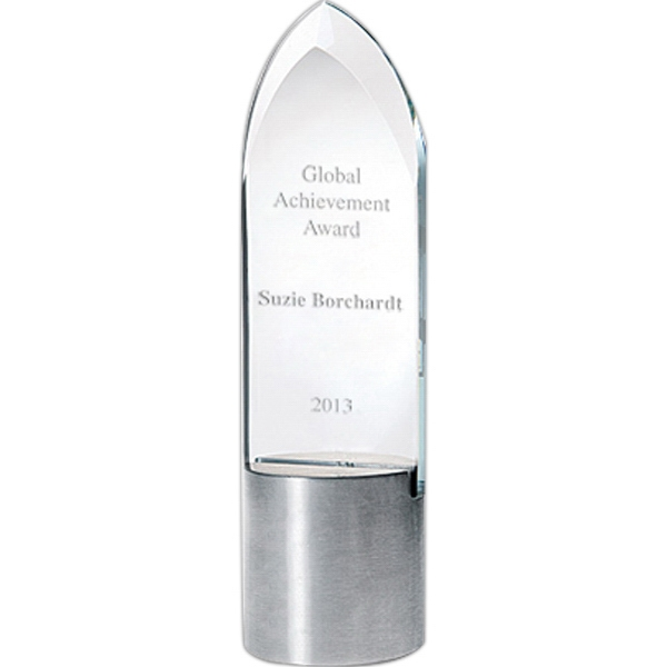 Duet - Arrow Shaped Glass Award With Aluminum Base Photo