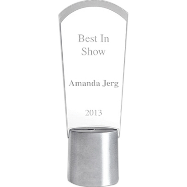 Duet - Arch Shaped Glass Award With Aluminum Base Photo