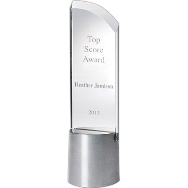 Duet - Sloped Glass Award With Aluminum Base Photo