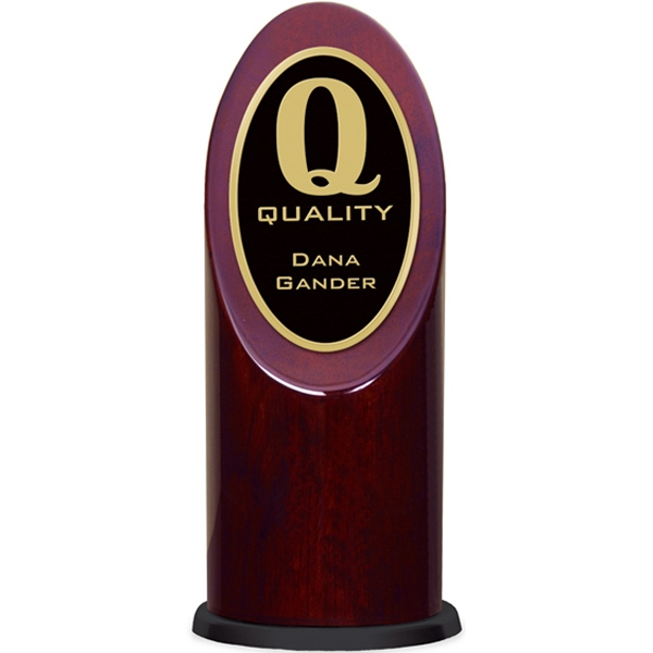 Ovation - Rosewood Oval Tower Award With Beveled Brass Trim Photo