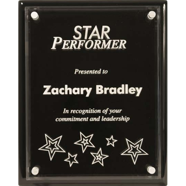 Monterey - Ebony Piano Finish Plaque With Beveled Acrylic Photo