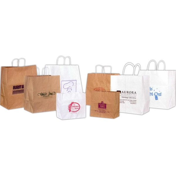 "White Food Service Paper Shopping Bag. 14"" X 8"" X 14 3/4"" Photo"