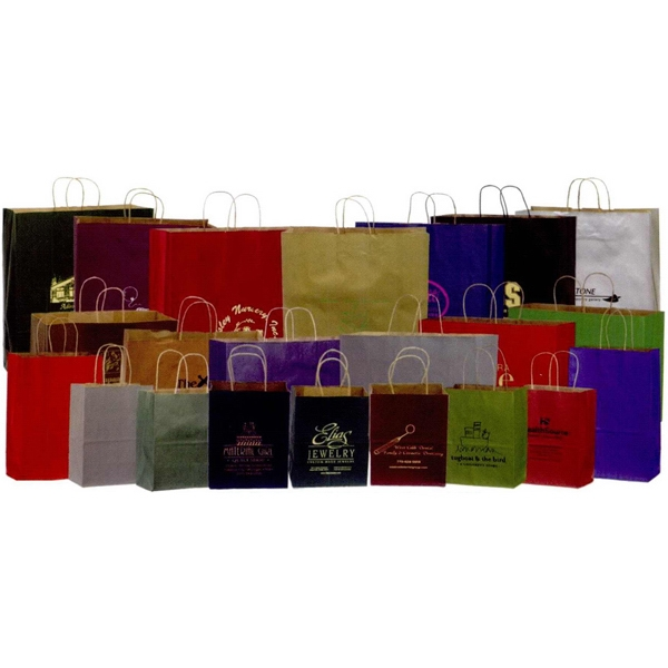 "Metallic Color Matte Kraft Tint Paper Shopping Bag. 16"" X 6"" X 12"" Photo"