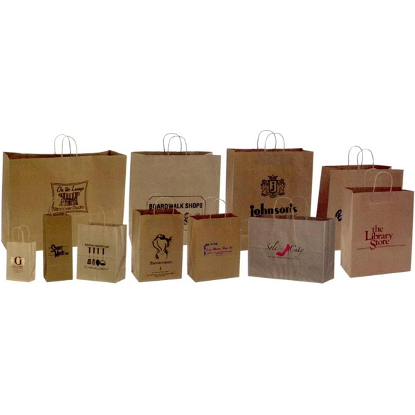 "Natural Kraft Paper Shopping Bag. 5 1/4"" X 3 1/4"" X 13"". Blank Photo"