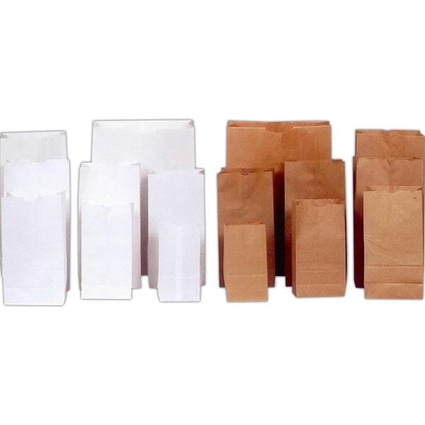 White Regular Weight - Kraft & White Grocery Bag - Bag Order Size #25. Blank 500 Bag Minimum Photo