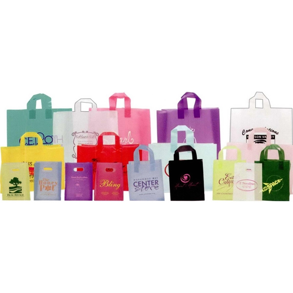 "Translucent - High Density Sos Die Cut Shopping Bag. 8"" X 4"" X 10"" X 4"". Blank Photo"