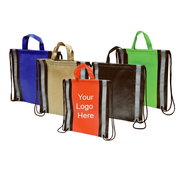 Reflective Stripes Non-woven Drawstring Bag Photo