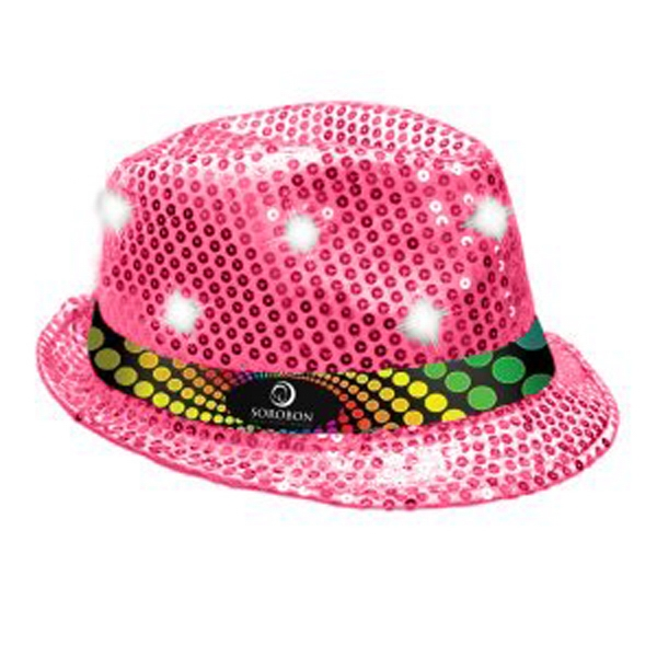Light Up Sequined Hat - Black with White LEDs - Light Up Sequined Hat - Black with White LEDs.
