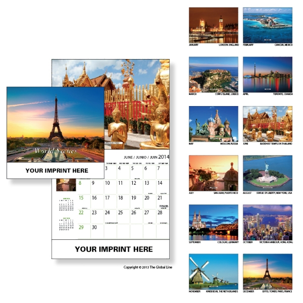 Econoline - Wall Calendar With World Scenes Photo