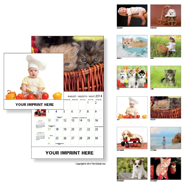 Econoline - Wall Calendar With Kittens, Puppies And Children Photo
