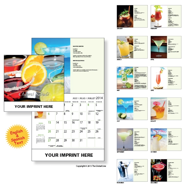 Econoline - Wall Calendar With Delectable Drink And Cocktails Recipes Photo