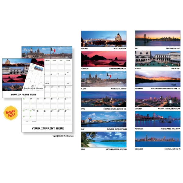 Econoline - Jumbo Block Monthly Planner With 12 Colorful Pictures Photo