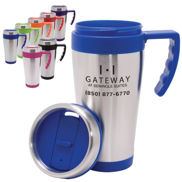 Blue Bullet - Mug With Stainless Steel Exterior And Plastic Interior, 16 Oz Photo