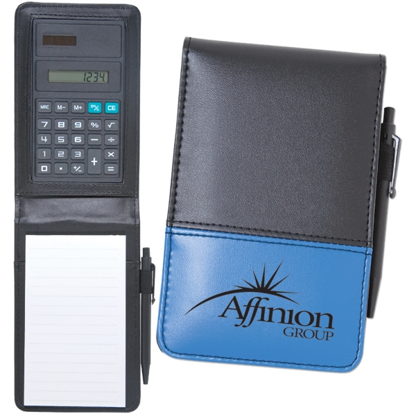 Jotter With Built-in Solar Powered Calculator And Mini Pen. Closeout Photo