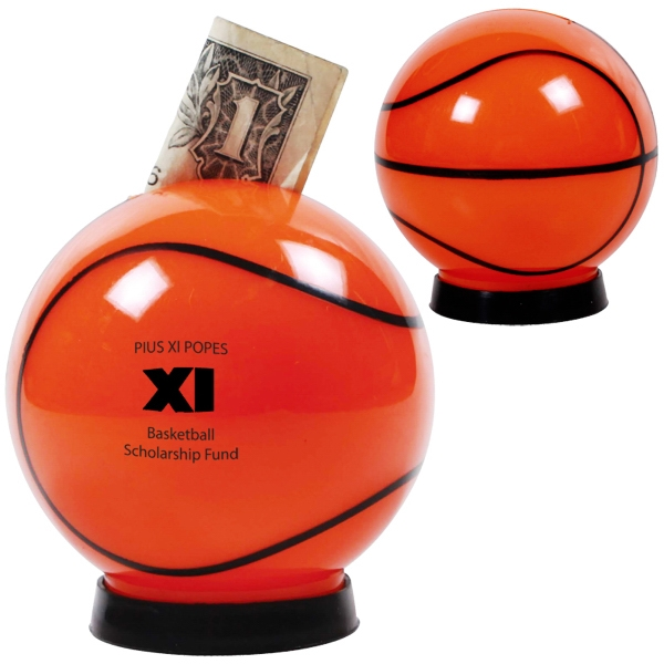 Plastic Basketball Shaped Coin Bank With A Bottom Removable Cap Photo